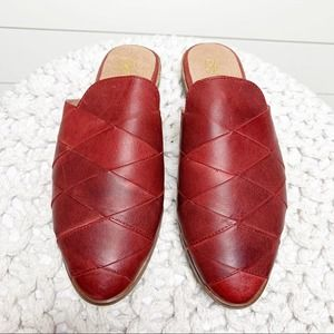 Seychelles Survival Woven Mules Red Leather Size 6